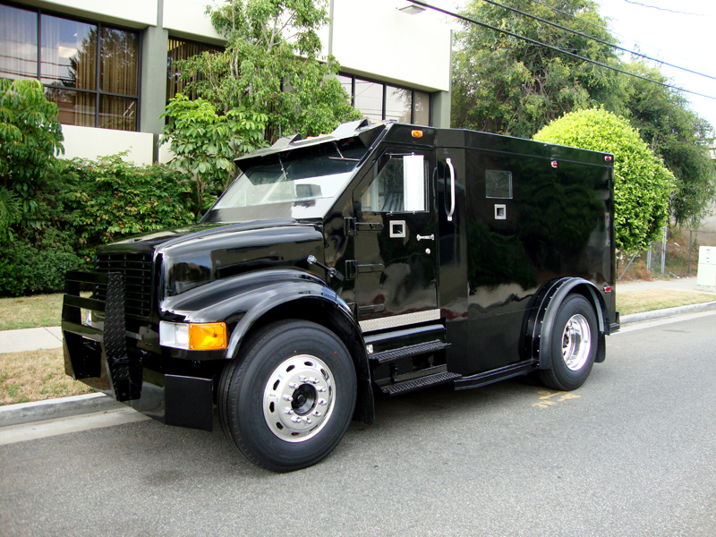 Black International Armored Truck